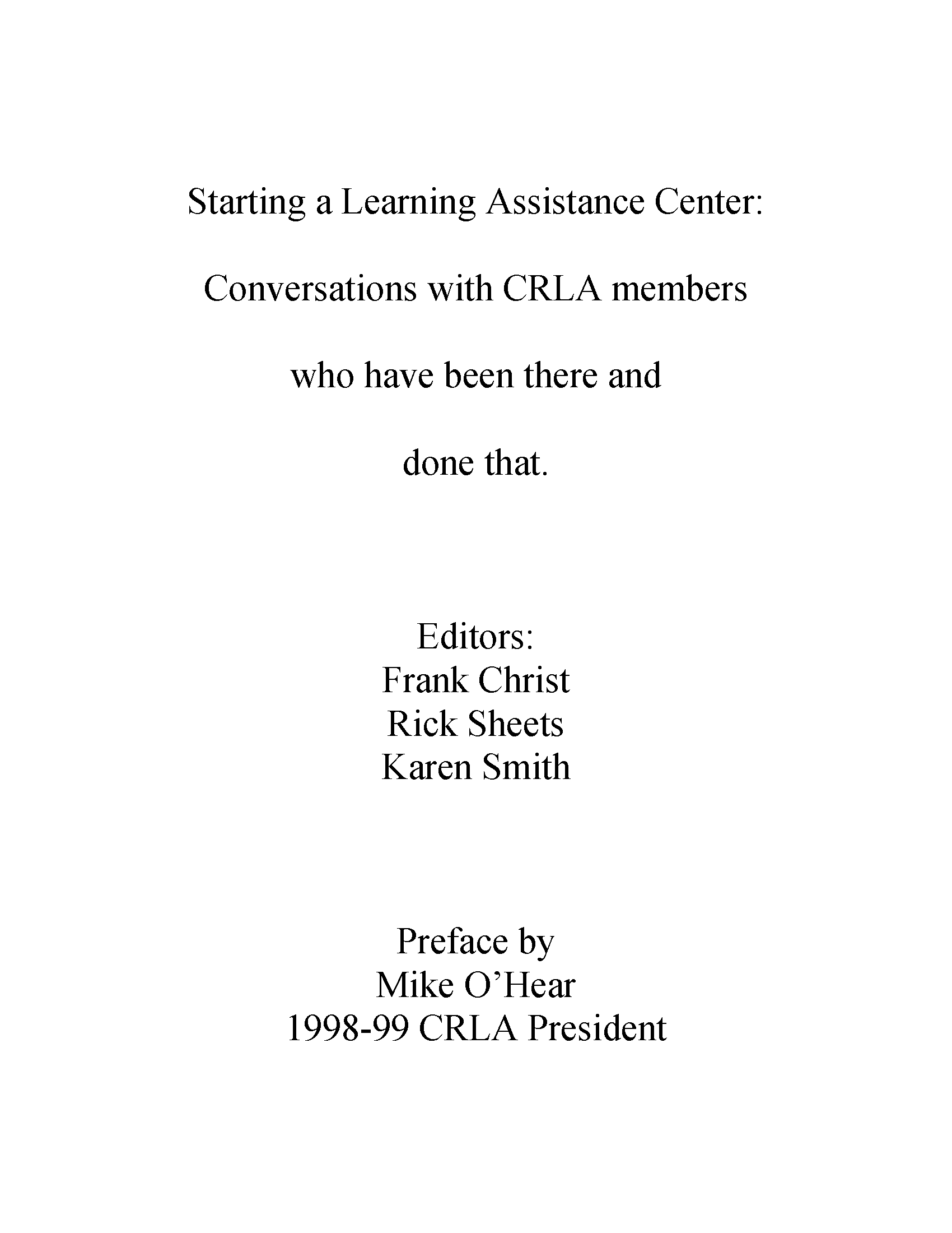 Crla College Reading Learning Association